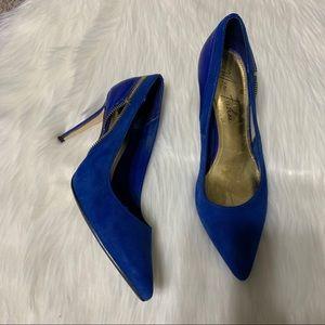 Marc Fisher blue suede zipper heels size 7